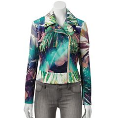 Women's Jennifer Lopez Palm Scuba Moto Jacket