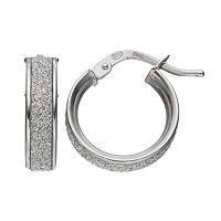Platinum Over Silver Glitter Hoop Earrings