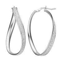 Platinum Over Silver Glitter Twist Oval Hoop Earrings