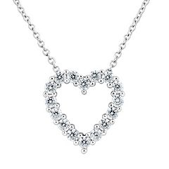 DiamonLuxe Sterling Silver 5/8 Carat T.W. Simulated Diamond Heart Pendant