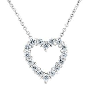 DiamonLuxe Sterling Silver 5/8 Carat T.W. Simulated Diamond Heart Pendant