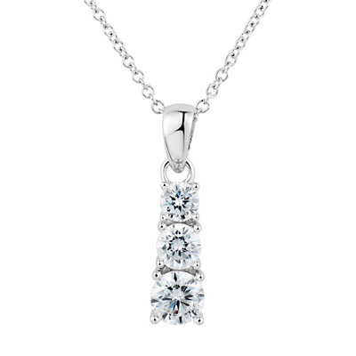 DiamonLuxe Sterling Silver 1 1/4 Carat T.W. Simulated Diamond 3-Stone Pendant