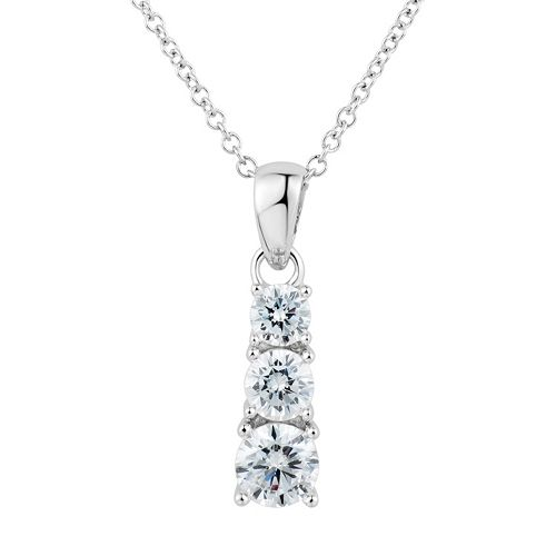 DiamonLuxe Sterling Silver 1 1/4 Carat T.W. Simulated Diamond 3-Stone Pendant