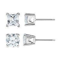 DiamonLuxe Sterling Silver 3 3/4 Carat T.W. Simulated Diamond Stud Earring Set