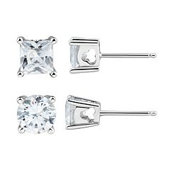 DiamonLuxe Sterling Silver 3 3/4 Carat T.W. Simulated Diamond Stud Earring Set