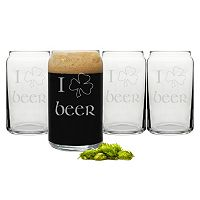 Cathy's Concepts St. Patrick's Day 4 pc Beer Can Glass Set