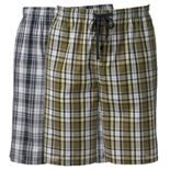 Men's Hanes Classics 2-pack Plaid Woven Jams Sleep Shorts