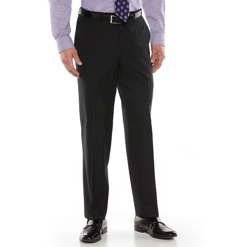 Men's Chaps Black Label Classic-Fit Black Plaid Wool-Blend Flat-Front Stretch Suit Pants