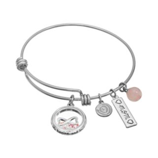 """love this life Rose Quartz & Crystal Stainless Steel & Silver-Plated """"Mom,"""" & Infinity Heart Charm Bangle Bracelet"""