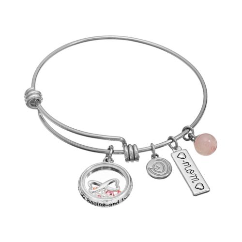 "love this life Rose Quartz & Crystal Stainless Steel & Silver-Plated ""Mom,"" & ..."