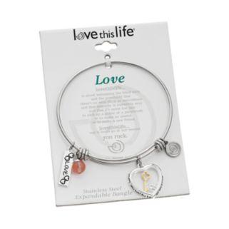 "love this life Cherry Quartz & Crystal Stainless Steel & Silver-Plated ""Love,"" Heart & Key Charm Locket Bracelet"