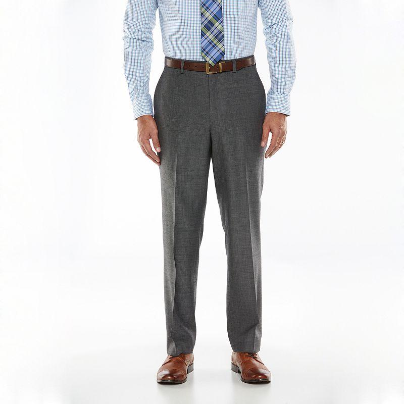 Men's Chaps Black Label Classic-Fit Charcoal Wool-Blend Stretch Flat-Front Suit Pants