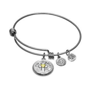 """love this life Crystal Stainless Steel & Silver-Plated """"Faith"""" Charm Bangle Bracelet"""