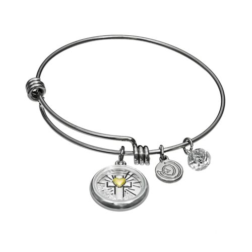 "love this life Crystal Stainless Steel & Silver-Plated ""Faith"" Charm Bangle Bracelet"