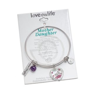 "love this life Amethyst Stainless Steel & Silver-Plated ""Mother Daughter"" Heart Charm Bangle Bracelet"