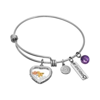 "love this life Amethyst & Crystal Stainless Steel & Silver-Plated ""#1 Grandma,"" Heart & Flower Charm Bangle Bracelet"