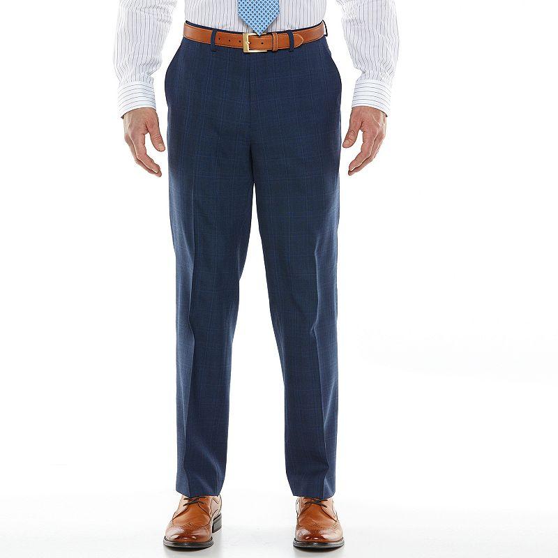 Men's Chaps Black Label Classic-Fit Blue Plaid Wool-Blend Flat-Front Stretch Suit Pants