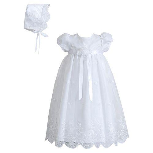 cc88433ed096e Picture Perfect Eyelet Organza Christening Dress & Bonnet Hat Set ...