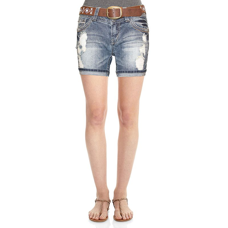 Wallflower Belted Curvy Midi Destructed Shorts - Juniors