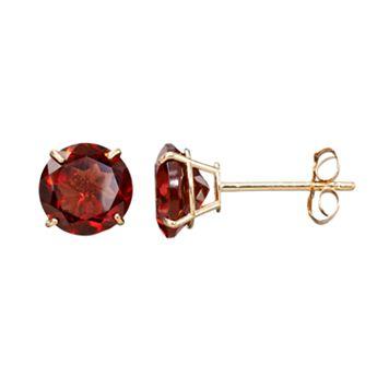 Everlasting Gold Gemstone Garnet 10k Gold Stud Earrings
