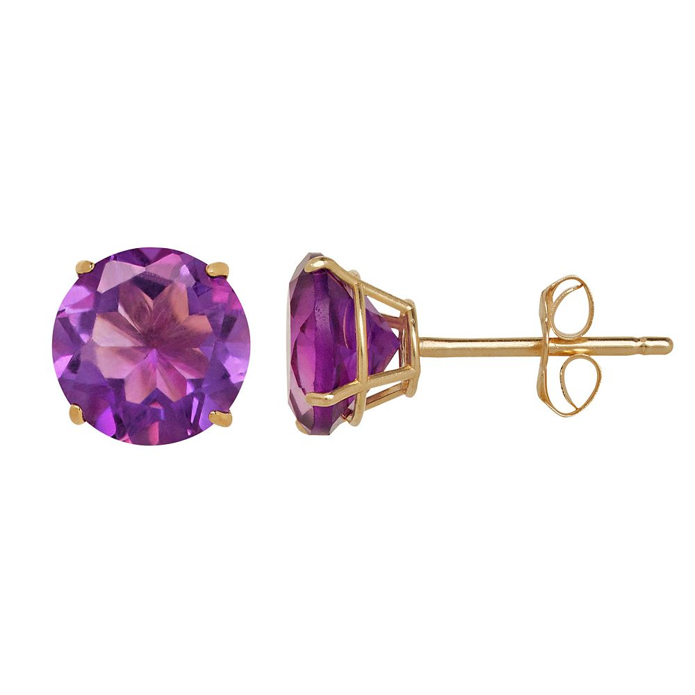 Everlasting Gold Amethyst 10k Gold Stud Earrings