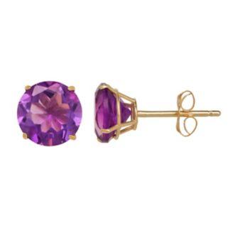 Everlasting Gold Amethyst 10k Gold Stud Earrings
