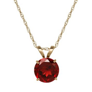 Everlasting Gold Garnet 10k Gold Pendant Necklace