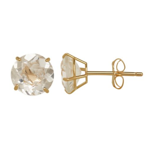 Everlasting Gold White Topaz 10k Gold Stud Earrings
