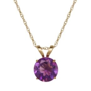 Everlasting Gold Amethyst 10k Gold Pendant Necklace