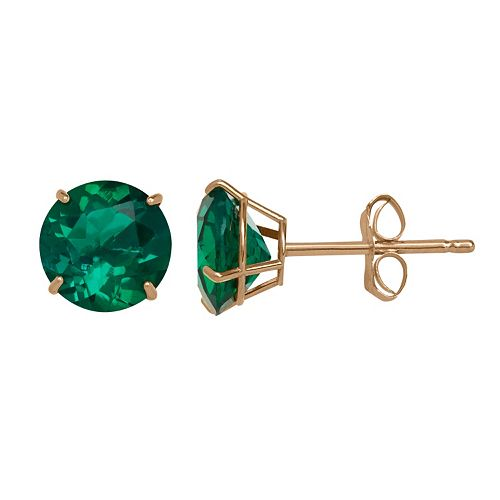 Everlasting Gold Lab-Created Emerald 10k Gold Stud Earrings