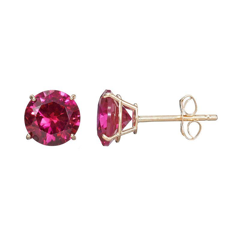 Everlasting Gold Gemstone Lab-Created Ruby 10k Gold Stud Earrings, Women's, Red