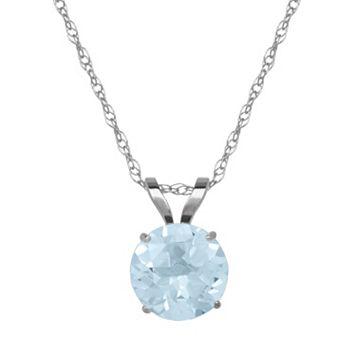 Everlasting Gold Aquamarine 10k White Gold Pendant Necklace