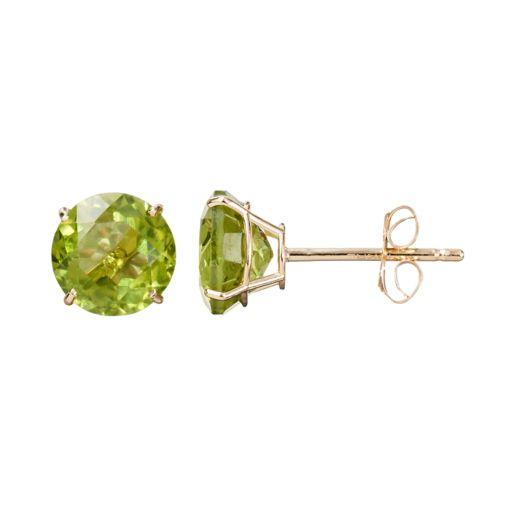 Everlasting Gold Gemstone Peridot 10k Gold Stud Earrings