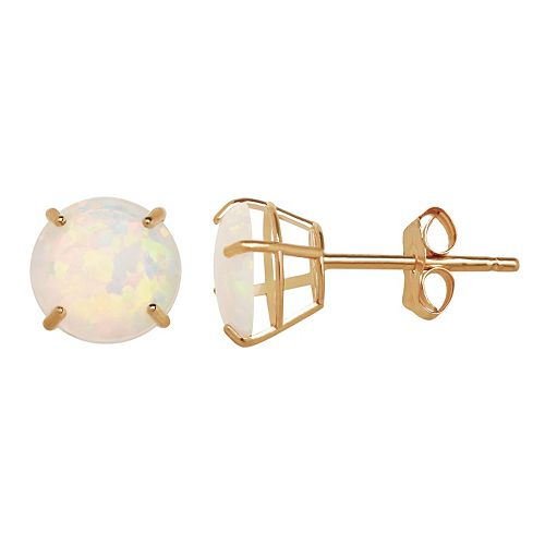 Everlasting Gold Lab-Created Opal 10k Gold Stud Earrings