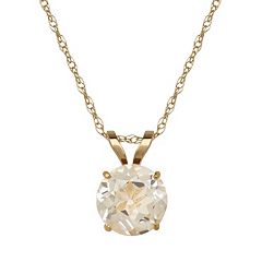 Everlasting Gold White Topaz 10k Gold Pendant Necklace