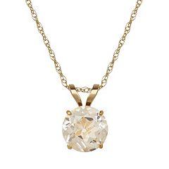 Everlasting Gold White Topaz 10k Gold Pendant Necklace