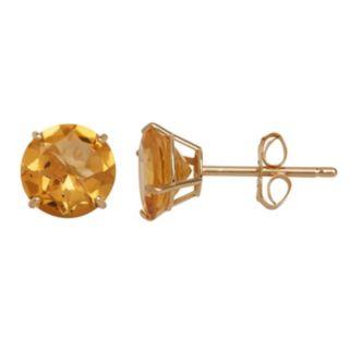 Everlasting Gold Citrine 10k Gold Stud Earrings