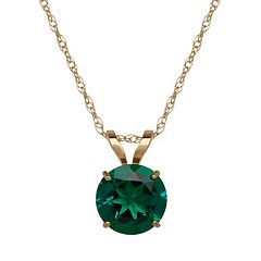 Everlasting Gold Lab-Created Emerald 10k Gold Pendant Necklace