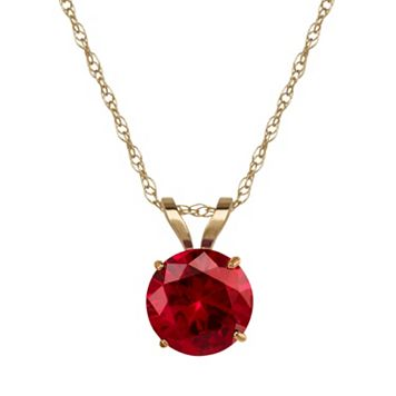 Everlasting Gold Lab-Created Ruby 10k Gold Pendant Necklace