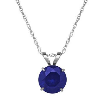 Everlasting Gold Lab-Created Sapphire 10k White Gold Pendant Necklace