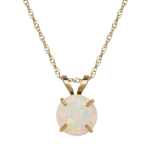 Everlasting Gold Lab-Created Opal 10k Gold Pendant Necklace