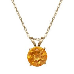 Everlasting Gold Citrine 10k Gold Pendant Necklace