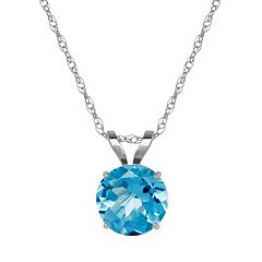 Everlasting Gold Blue Topaz 10k White Gold Pendant Necklace