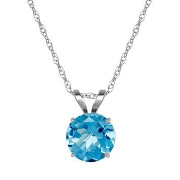 Everlasting Gold Blue Topaz 10k White Gold Pendant Necklace