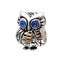 Individuality Beads Crystal 14k Gold Over Silver & Sterling Silver Owl Charm