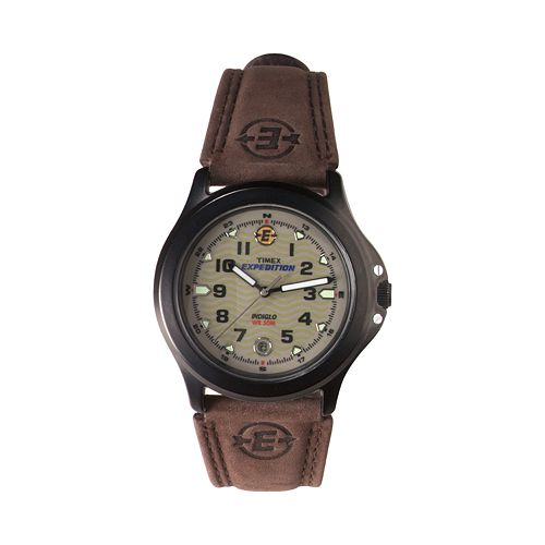 Timex men 39 s expedition leather watch t470129j for Watches kohls