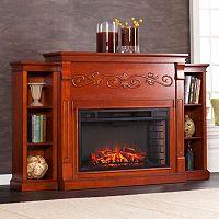 Douglas Electric Fireplace & 6-Shelf Bookcase