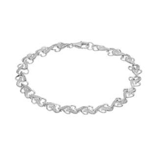 1/4 Carat T.W. Diamond Sterling Silver Heart Bracelet
