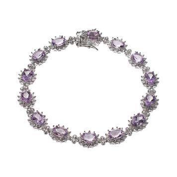Amethyst & 1/4 Carat T.W. Diamond Sterling Silver Halo Bracelet