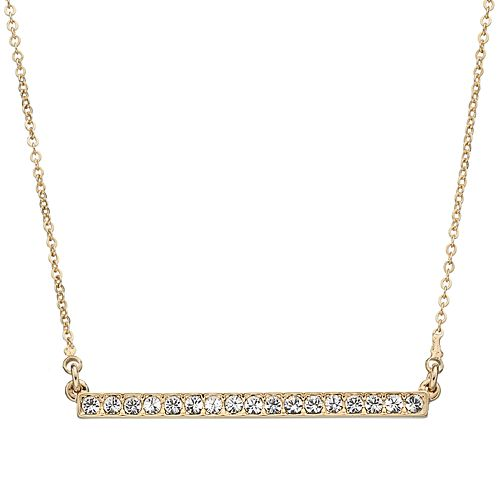 Crystal Collection Crystal 14k Gold-Plated Bar Necklace